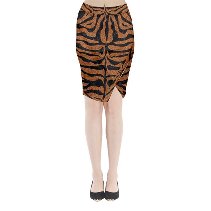 SKIN2 BLACK MARBLE & RUSTED METAL Midi Wrap Pencil Skirt
