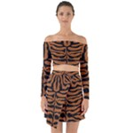 SKIN2 BLACK MARBLE & RUSTED METAL Off Shoulder Top with Skirt Set