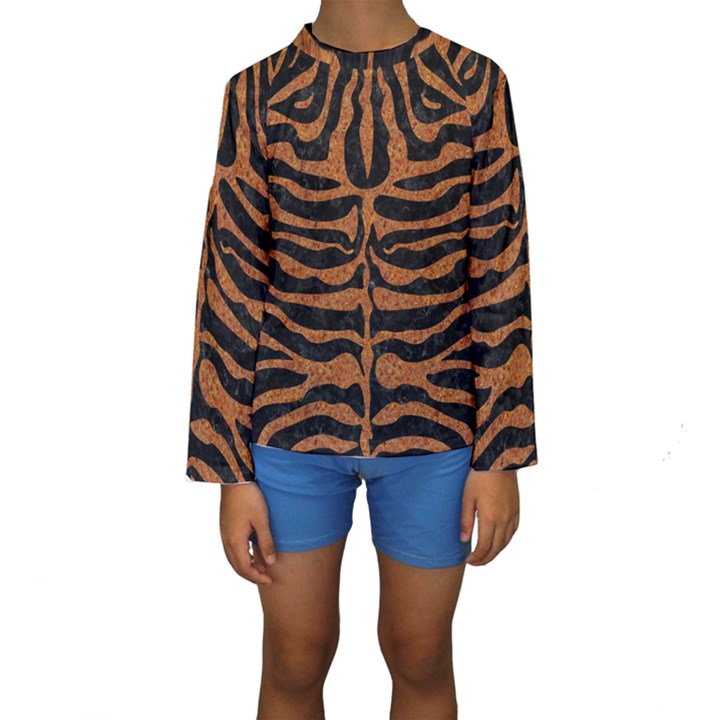 SKIN2 BLACK MARBLE & RUSTED METAL (R) Kids  Long Sleeve Swimwear
