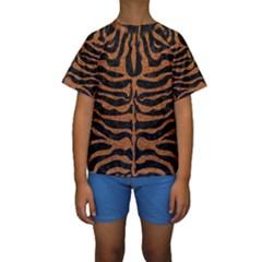 SKIN2 BLACK MARBLE & RUSTED METAL (R) Kids  Short Sleeve Swimwear