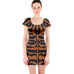 Skin2 Black Marble & Rusted Metal (r) Short Sleeve Bodycon Dress