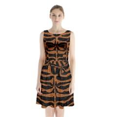 SKIN2 BLACK MARBLE & RUSTED METAL (R) Sleeveless Waist Tie Chiffon Dress