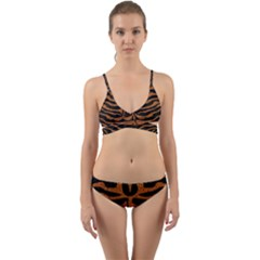 Skin2 Black Marble & Rusted Metal (r) Wrap Around Bikini Set