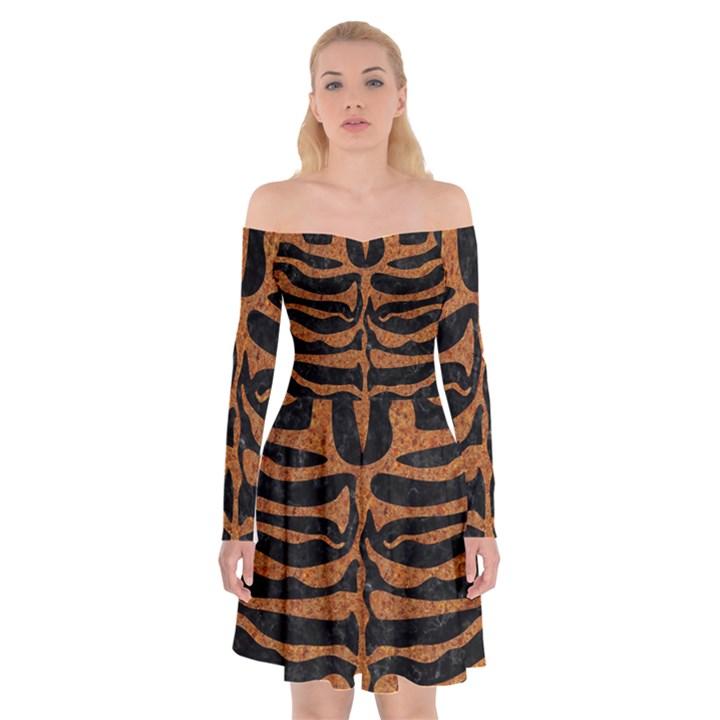 SKIN2 BLACK MARBLE & RUSTED METAL (R) Off Shoulder Skater Dress