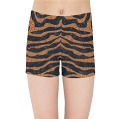 Skin2 Black Marble & Rusted Metal (r) Kids Sports Shorts