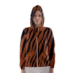 Skin3 Black Marble & Rusted Metal Hooded Wind Breaker (women) by trendistuff