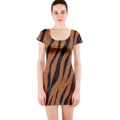 SKIN3 BLACK MARBLE & RUSTED METAL Short Sleeve Bodycon Dress