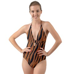 SKIN3 BLACK MARBLE & RUSTED METAL Halter Cut-Out One Piece Swimsuit