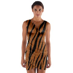 SKIN3 BLACK MARBLE & RUSTED METAL Wrap Front Bodycon Dress