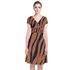SKIN3 BLACK MARBLE & RUSTED METAL Short Sleeve Front Wrap Dress