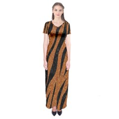 SKIN3 BLACK MARBLE & RUSTED METAL Short Sleeve Maxi Dress