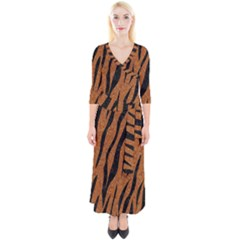 SKIN3 BLACK MARBLE & RUSTED METAL Quarter Sleeve Wrap Maxi Dress