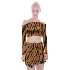 SKIN3 BLACK MARBLE & RUSTED METAL Off Shoulder Top with Mini Skirt Set