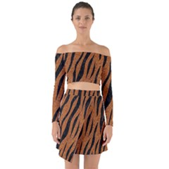 SKIN3 BLACK MARBLE & RUSTED METAL Off Shoulder Top with Skirt Set