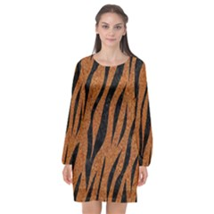 SKIN3 BLACK MARBLE & RUSTED METAL Long Sleeve Chiffon Shift Dress