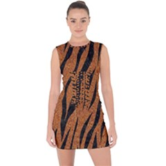 SKIN3 BLACK MARBLE & RUSTED METAL Lace Up Front Bodycon Dress