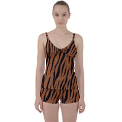 SKIN3 BLACK MARBLE & RUSTED METAL Tie Front Two Piece Tankini