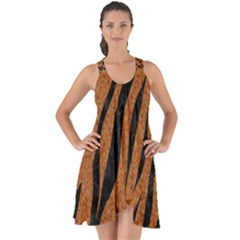 SKIN3 BLACK MARBLE & RUSTED METAL Show Some Back Chiffon Dress