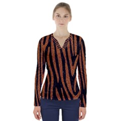 Skin4 Black Marble & Rusted Metal V Neck Long Sleeve Top by trendistuff