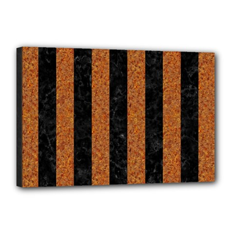 Stripes1 Black Marble & Rusted Metal Canvas 18  X 12  by trendistuff