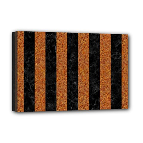 Stripes1 Black Marble & Rusted Metal Deluxe Canvas 18  X 12   by trendistuff