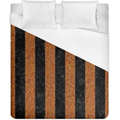 Stripes1 Black Marble & Rusted Metal Duvet Cover (california King Size) by trendistuff