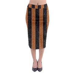 Stripes1 Black Marble & Rusted Metal Midi Pencil Skirt by trendistuff