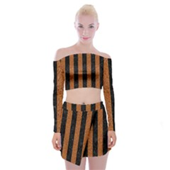 Stripes1 Black Marble & Rusted Metal Off Shoulder Top With Mini Skirt Set