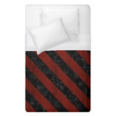 Stripes3 Black Marble & Reddish Brown Wood Duvet Cover (single Size)