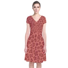 Autumn Animal Print 4 Short Sleeve Front Wrap Dress by tarastyle