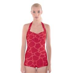 Autumn Animal Print 6 Boyleg Halter Swimsuit  by tarastyle