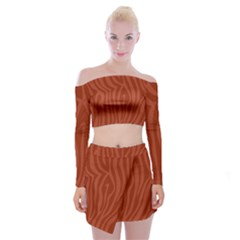 Autumn Animal Print 8 Off Shoulder Top With Mini Skirt Set by tarastyle