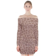 Autumn Animal Print 9 Long Sleeve Off Shoulder Dress by tarastyle