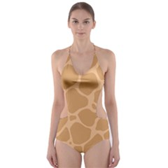 Autumn Animal Print 10 Cut-Out One Piece Swimsuit