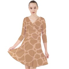 Autumn Animal Print 10 Quarter Sleeve Front Wrap Dress