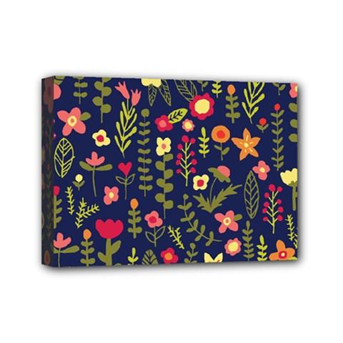 Cute Doodle Flowers 1 Mini Canvas 7  X 5  by tarastyle
