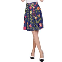 Cute Doodle Flowers 1 A Line Skirt by tarastyle