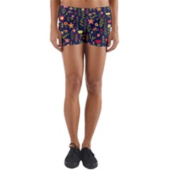 Cute Doodle Flowers 1 Yoga Shorts by tarastyle