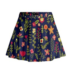 Cute Doodle Flowers 1 Mini Flare Skirt by tarastyle