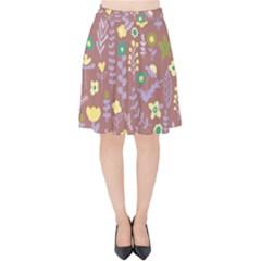 Cute Doodle Flowers 3 Velvet High Waist Skirt by tarastyle