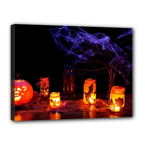 Awaiting Halloween Night Canvas 16  X 12  by gothicandhalloweenstore