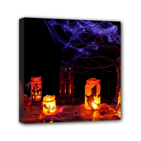 Awaiting Halloween Night Mini Canvas 6  X 6  by gothicandhalloweenstore