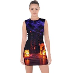 Awaiting Halloween Night Lace Up Front Bodycon Dress