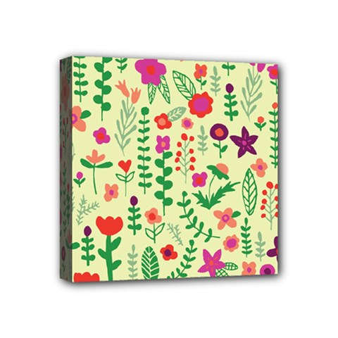 Cute Doodle Flowers 5 Mini Canvas 4  X 4  by tarastyle