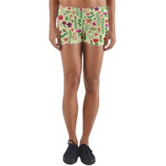Cute Doodle Flowers 5 Yoga Shorts by tarastyle