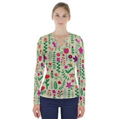 Cute Doodle Flowers 5 V Neck Long Sleeve Top