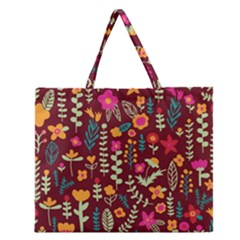 Cute Doodle Flowers 6 Zipper Large Tote Bag by tarastyle