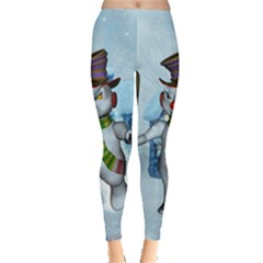 Funny Grimly Snowman In A Winter Landscape Leggings  by FantasyWorld7