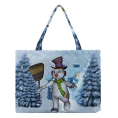 Funny Grimly Snowman In A Winter Landscape Medium Tote Bag by FantasyWorld7