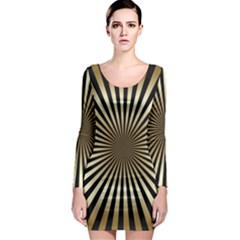 Art Deco Goldblack Long Sleeve Bodycon Dress